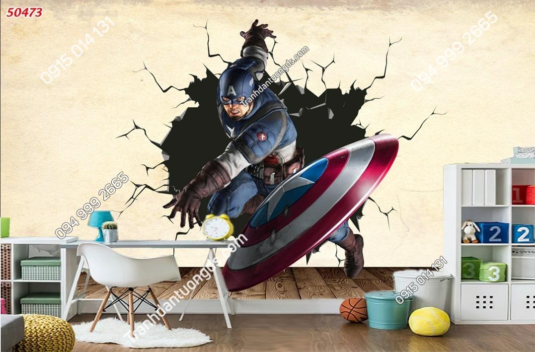 Tranh dán tường Captain America đội trưởng mỹ dán phòng ngủ trẻ em 50473