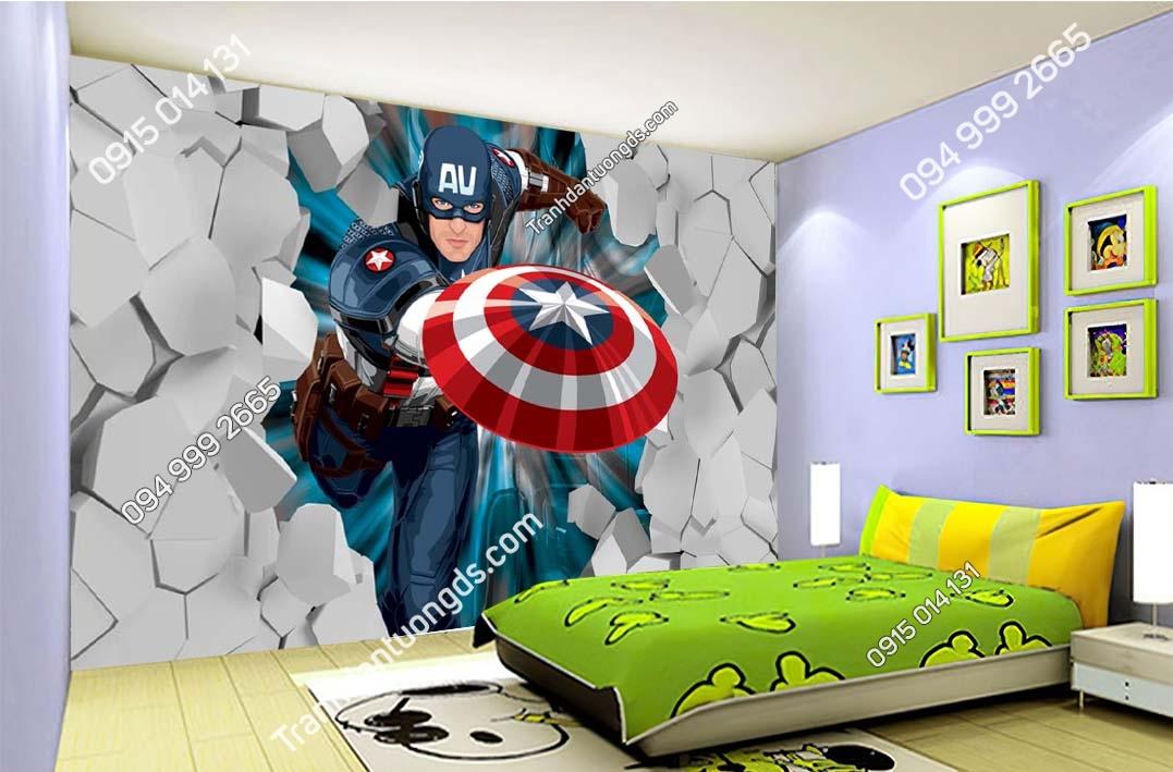 Tranh dán tường Captain America đội trưởng mỹ dán phòng ngủ trẻ em TE018