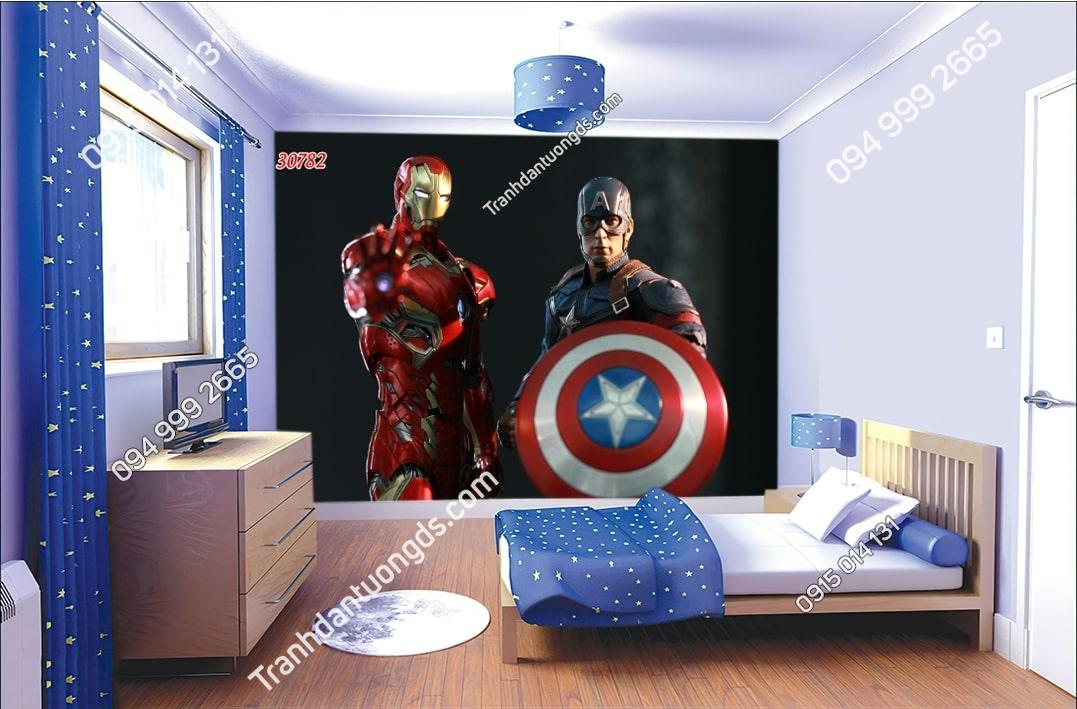 Tranh dán tường Captain America đội trưởng mỹ và Ironman dán phòng ngủ trẻ em 30782