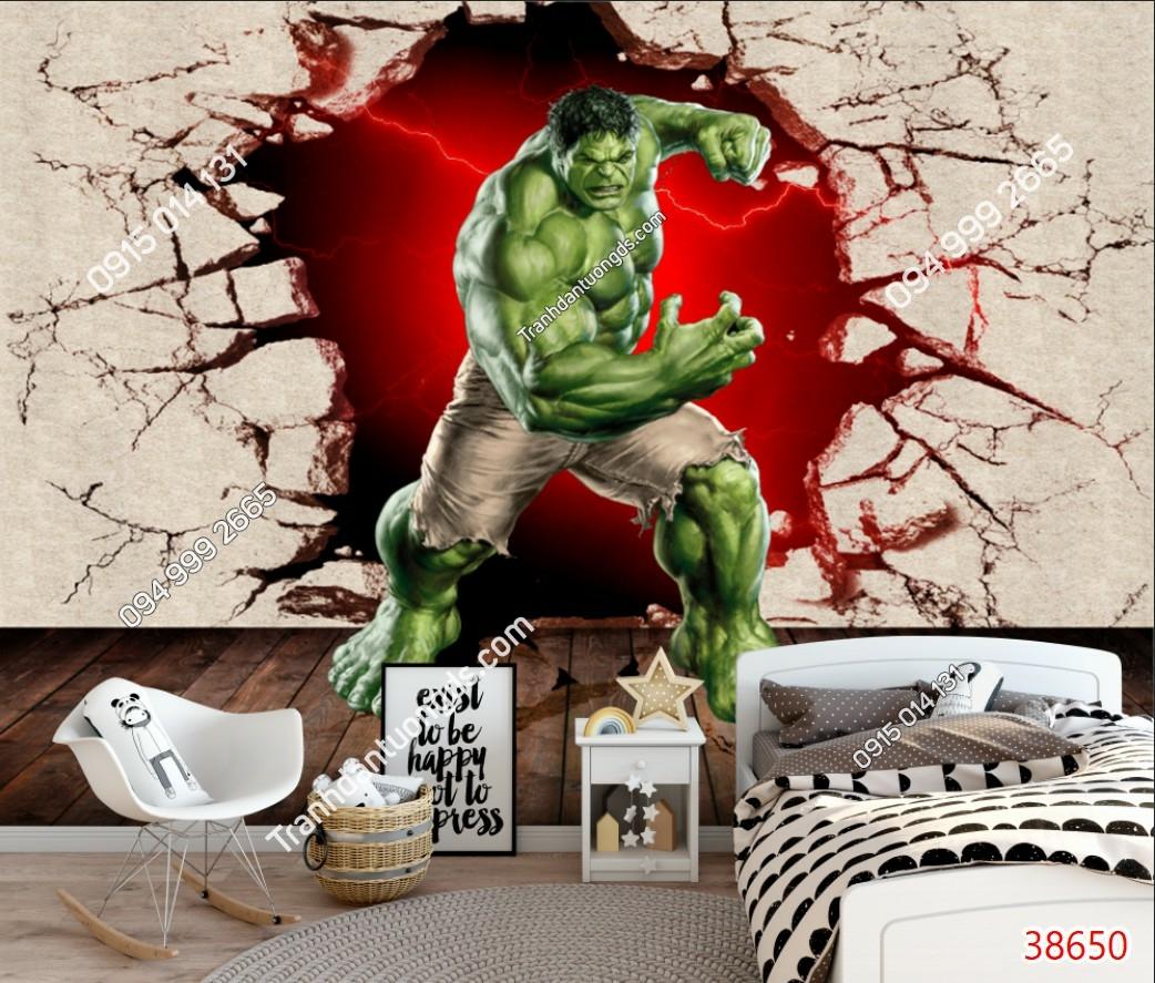 Tranh dán tường Hulk người khổng lồ xanh dán phòng ngủ trẻ em 38650 demo