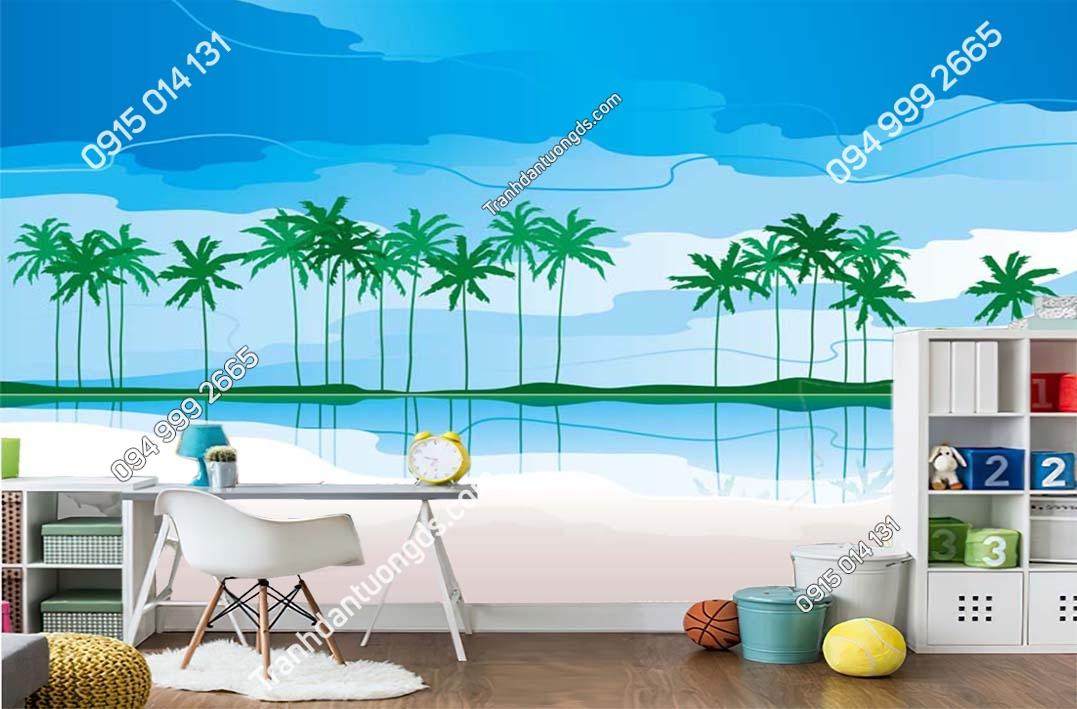 Tranh dán tường bãi biển trẻ em hiện đại TE075