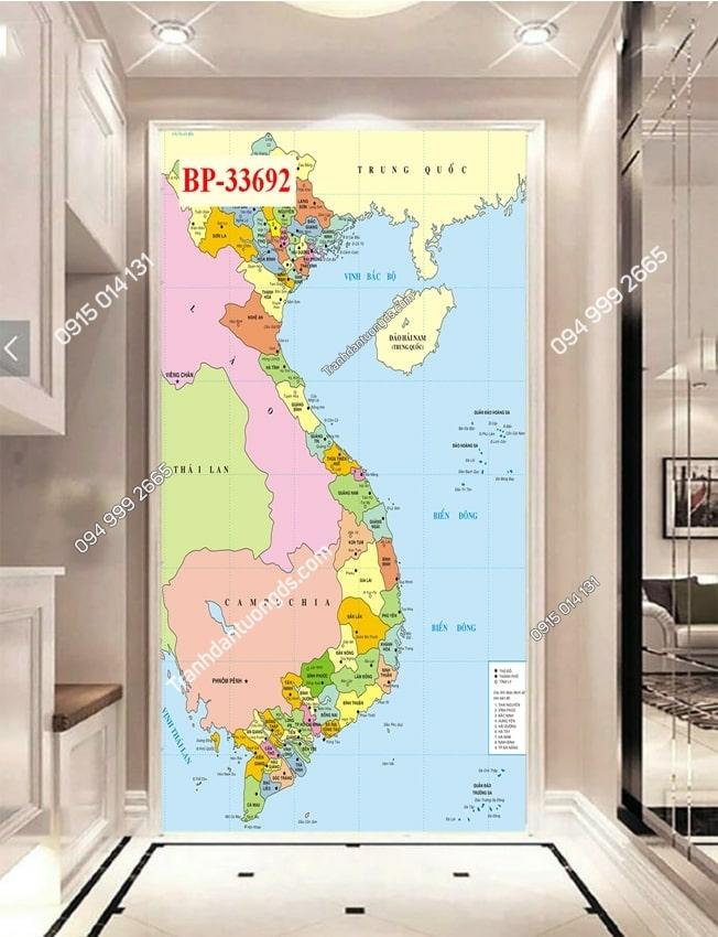 Tranh dán tường bản đồ Việt Nam khổ dọc 33692