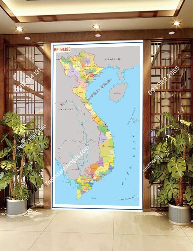 Tranh dán tường bản đồ Việt Nam khổ dọc 54385