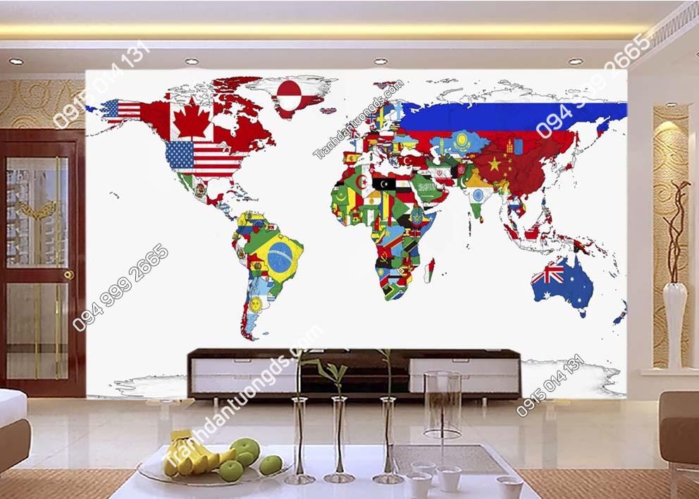 Tranh dán tường bản đồ bằng màu cờ các quốc gia 0015