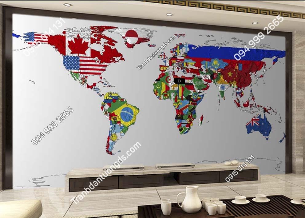 Tranh dán tường bản đồ bằng màu cờ các quốc gia 0017