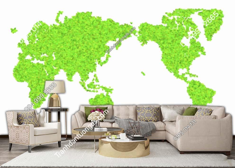 Tranh dán tường bản đồ bằng màu xanh lá cây 0027