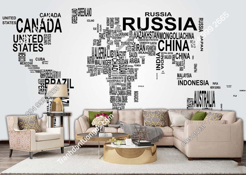 Tranh dán tường bản đồ bằng tên các quốc gia 0011