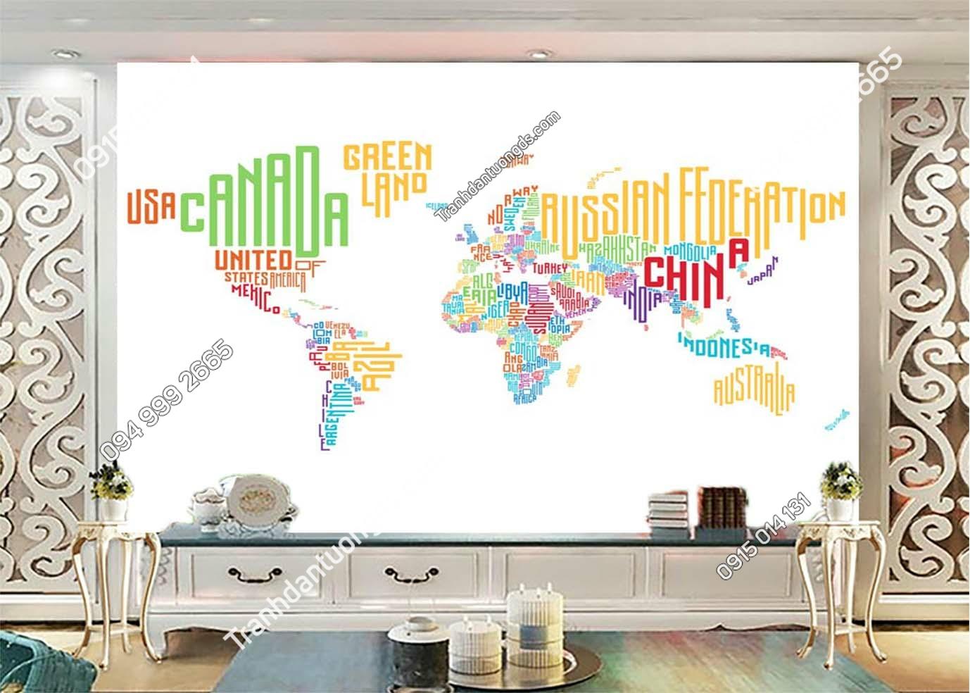Tranh dán tường bản đồ bằng tên các quốc gia dán phòng khách 0032