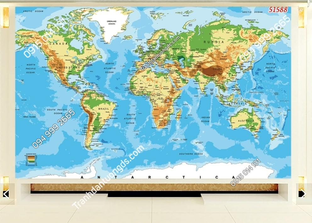 Tranh dán tường bản đồ địa lý 51588