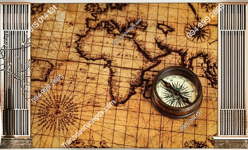 Tranh dán tường bản đồ giấy cổ 0022
