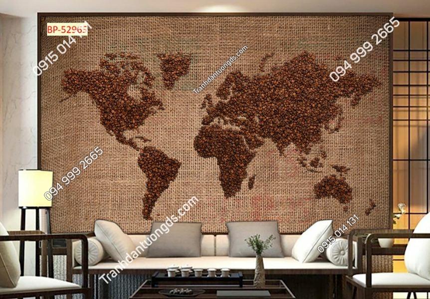 Tranh dán tường bản đồ hạt cafe 52965