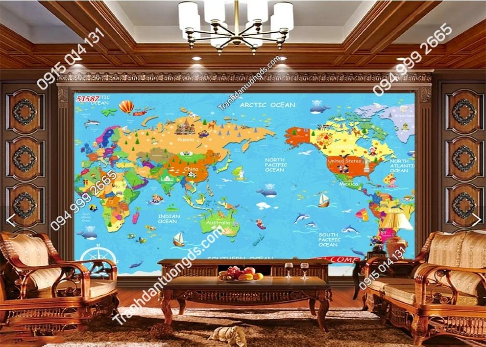 Tranh dán tường bản đồ hoạt hình 51587