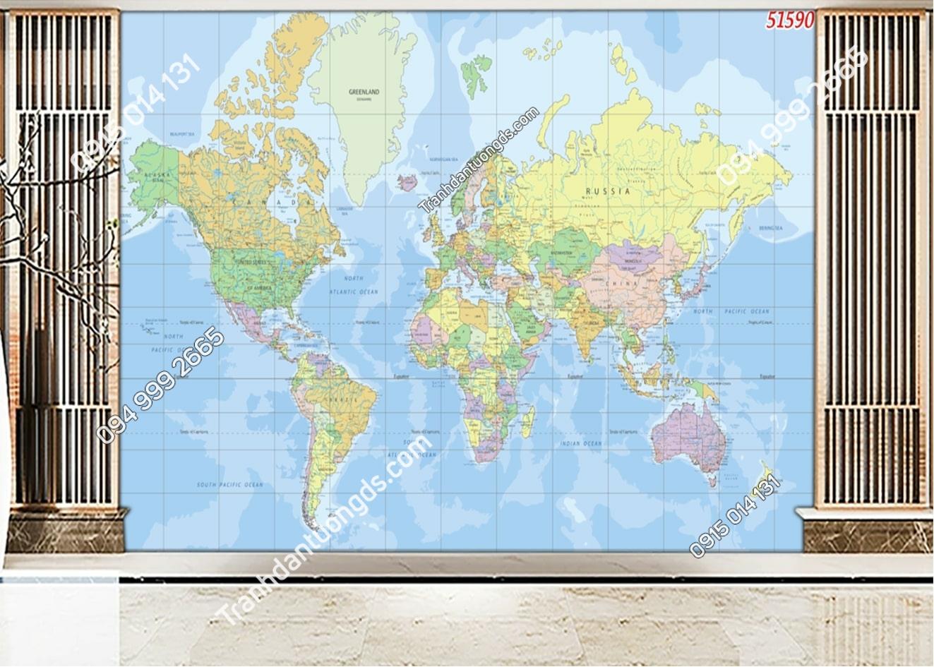 Tranh dán tường bản đồ thế giới 51590