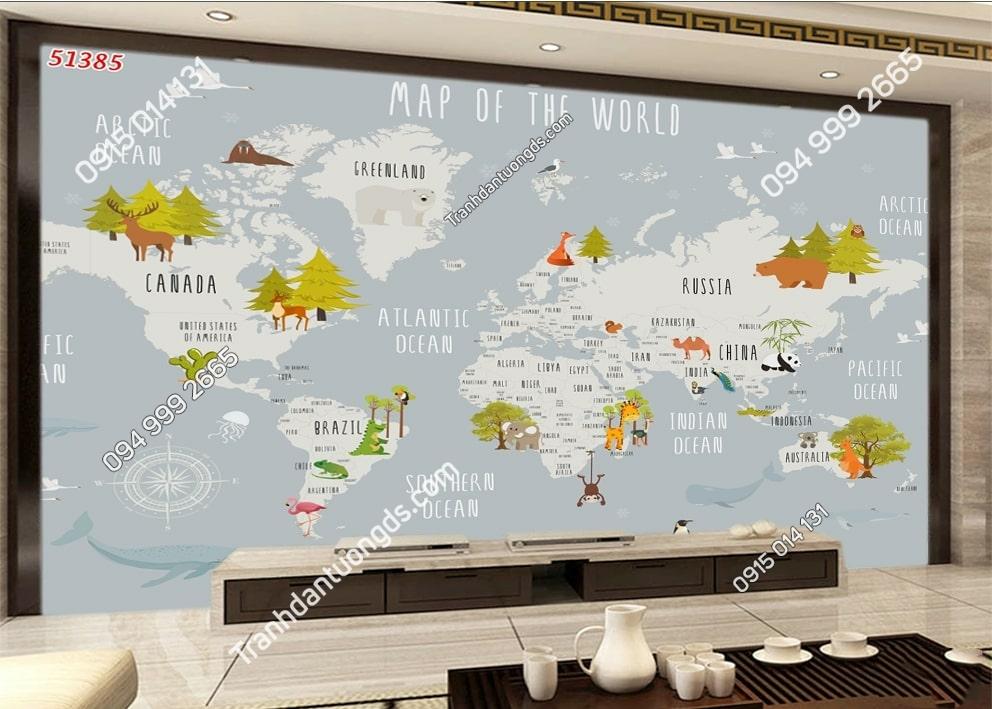 Tranh dán tường bản đồ và con vật ngộ nghĩnh 51385