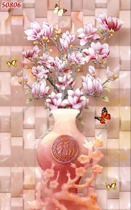 Tranh dán tường bình hoa giả ngọc khổ dọc 50806