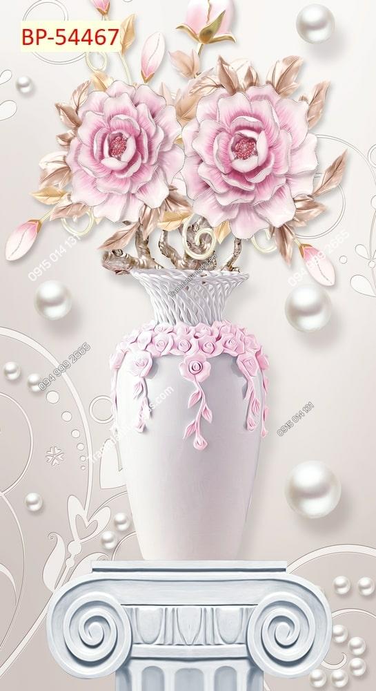 Tranh dán tường bình hoa hồng khổ dọc 54467