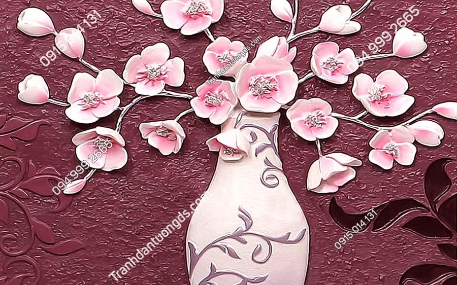 Tranh dán tường bình hoa hồng khổ ngang LH176