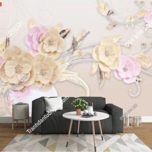 Tranh dán tường bình hoa hồng khổ ngang dán phòng khách 30121