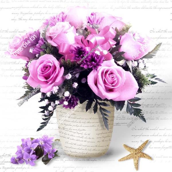 Tranh dán tường bình hoa hồng khổ vuông LH169