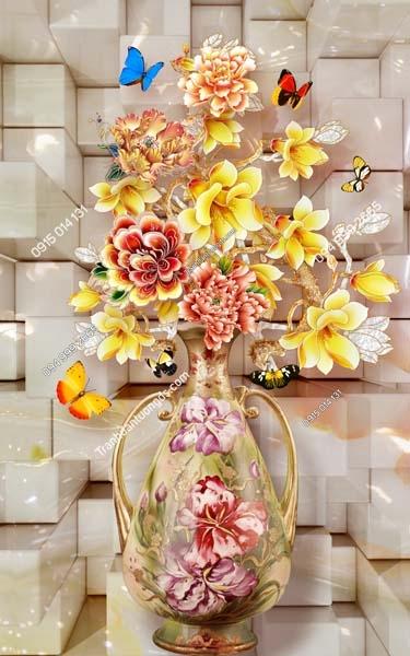Tranh dán tường bình hoa khổ dọc LH186