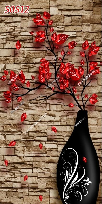Tranh dán tường bình hoa nền tường gạch khổ dọc 50512