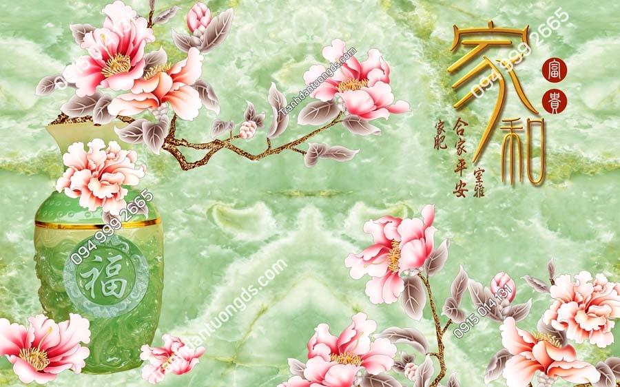 Tranh dán tường bình hoa ngọc xanh khổ ngang LH99