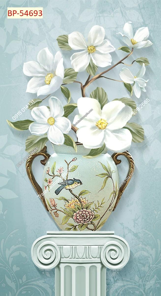 Tranh dán tường bình hoa trắng khổ dọc 54693