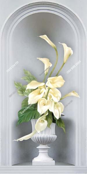 Tranh dán tường bình hoa trắng khổ dọc LH157