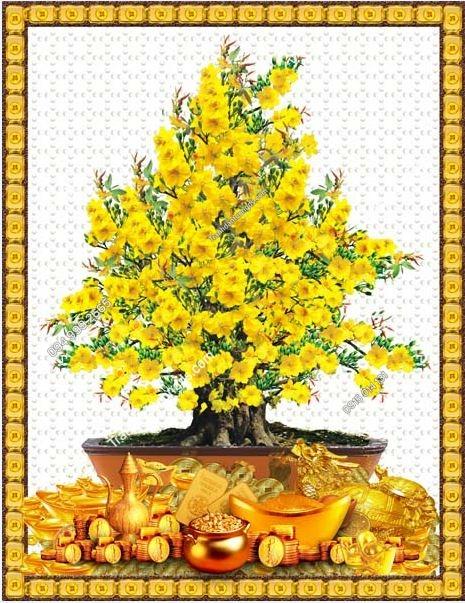 Tranh dán tường bình hoa và tiền vàng khổ dọc LH60
