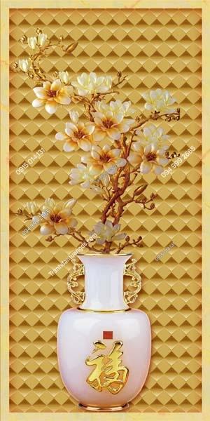 Tranh dán tường bình hoa vàng khổ dọc LH155