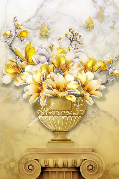 Tranh dán tường bình hoa vàng khổ dọc LH164