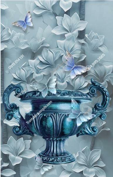 Tranh dán tường bình hoa xanh ngọc khổ dọc LH166