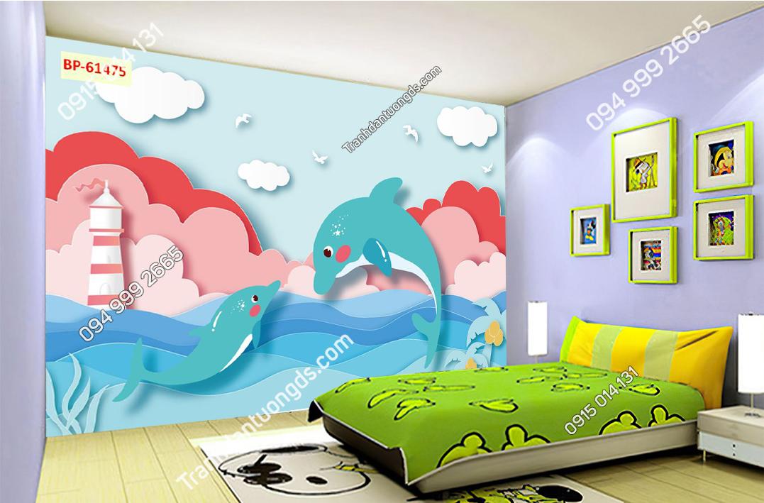 Tranh dán tường cá heo trẻ em hiện đại 61475