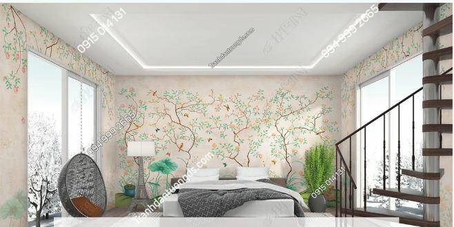 Tranh dán tường cành hoa khổ dài DS_16803599