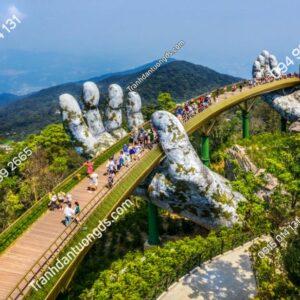 Tranh dán tường cầu Vàng Đà Nẵng 1343264873