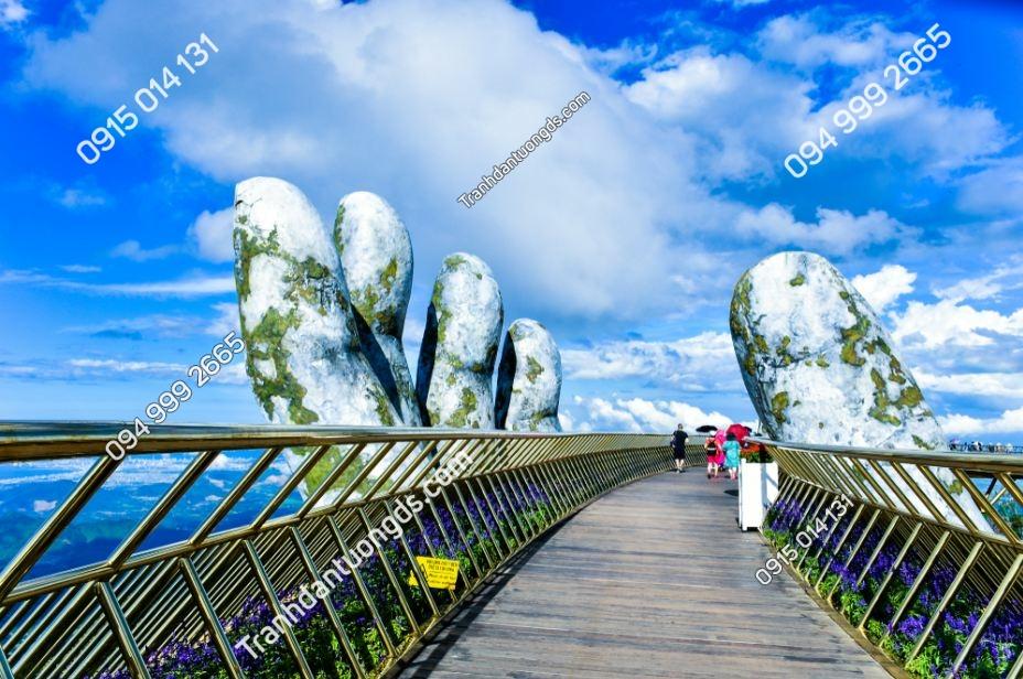Tranh dán tường cầu Vàng mây xanh tuyệt đẹp 1197053911