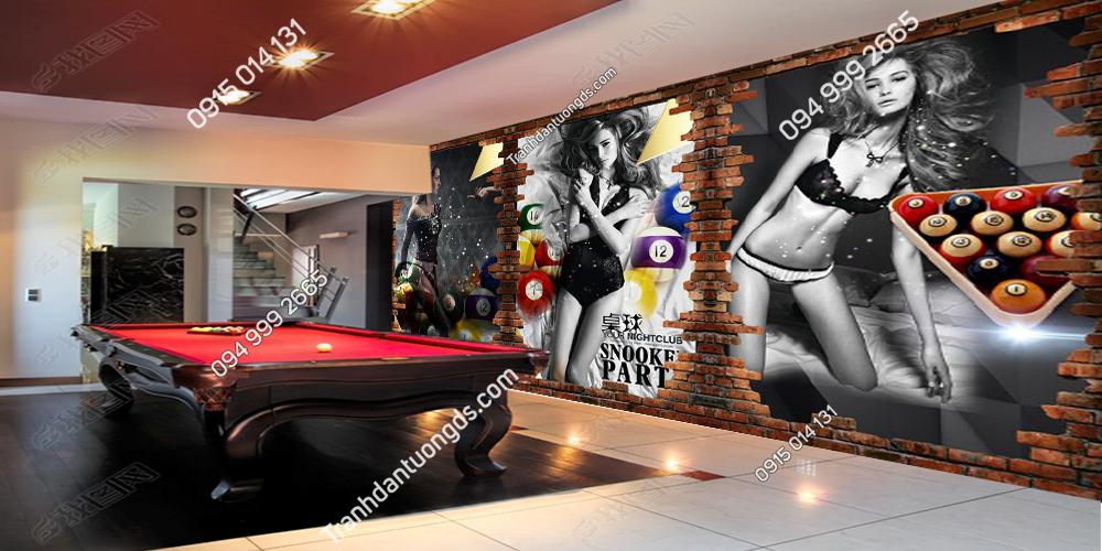 Tranh dán tường câu lạc bộ BILLARD 61122