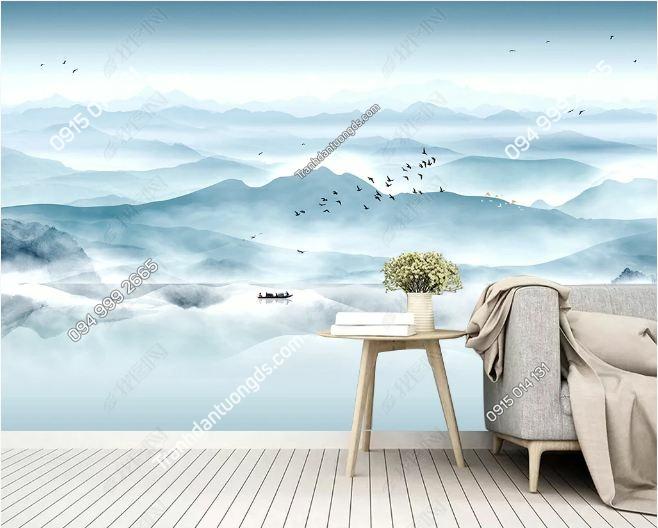 Tranh dán tường chim trời mây DS_18964577