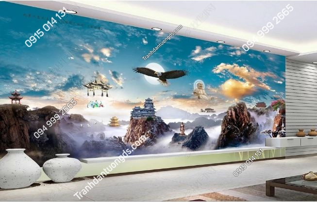 Tranh dán tường chim trời mây khổ dài DS_17612718