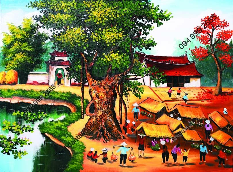 Tranh dán tường chợ làng quê Việt Nam DQ28