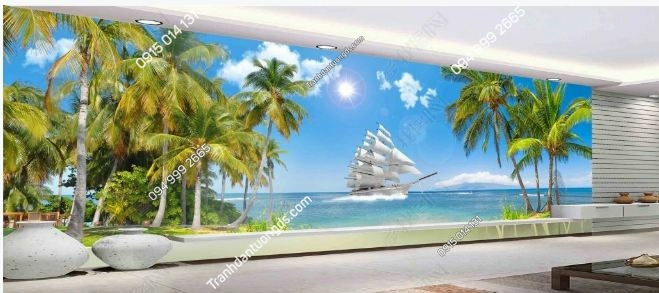 Tranh dán tường cọ biển khổ dài DS_15904437