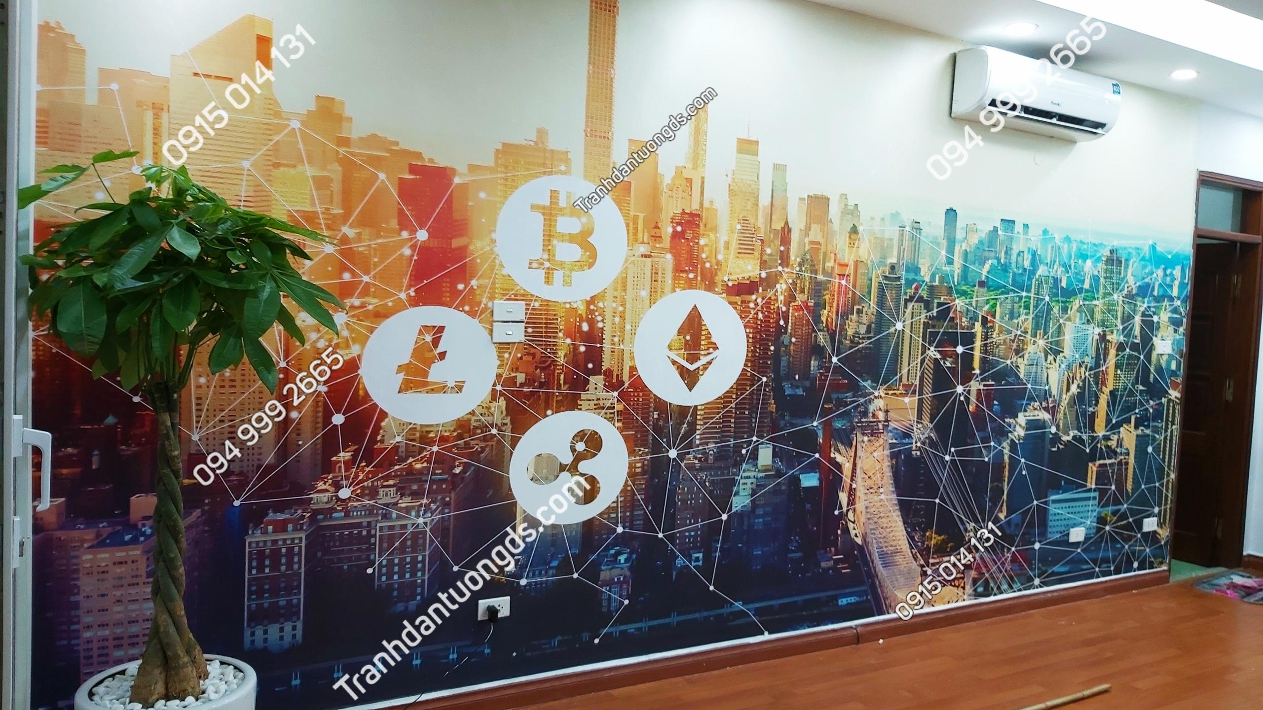 Tranh dán tường crypto cho văn phòng
