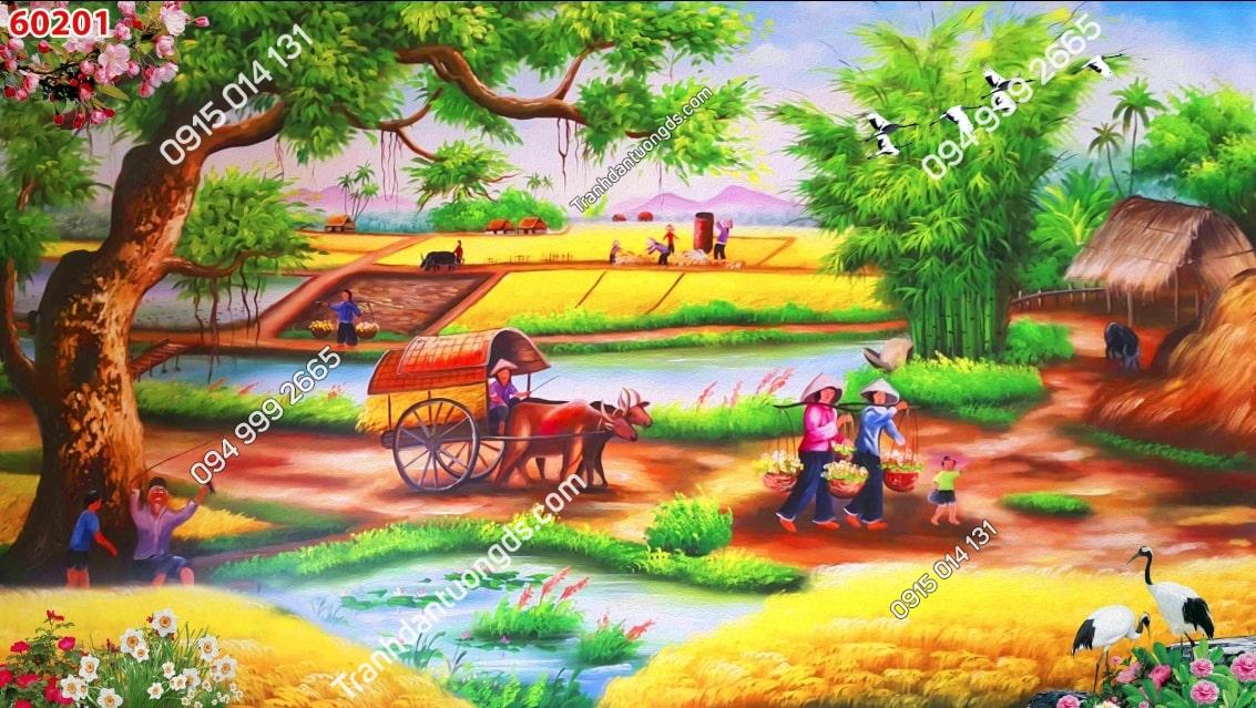 Tranh dán tường đồng quê đi chợ 60201