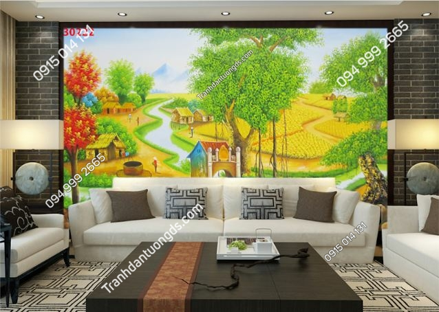 Tranh dán tường đồng quê kiểu vẽ 30222