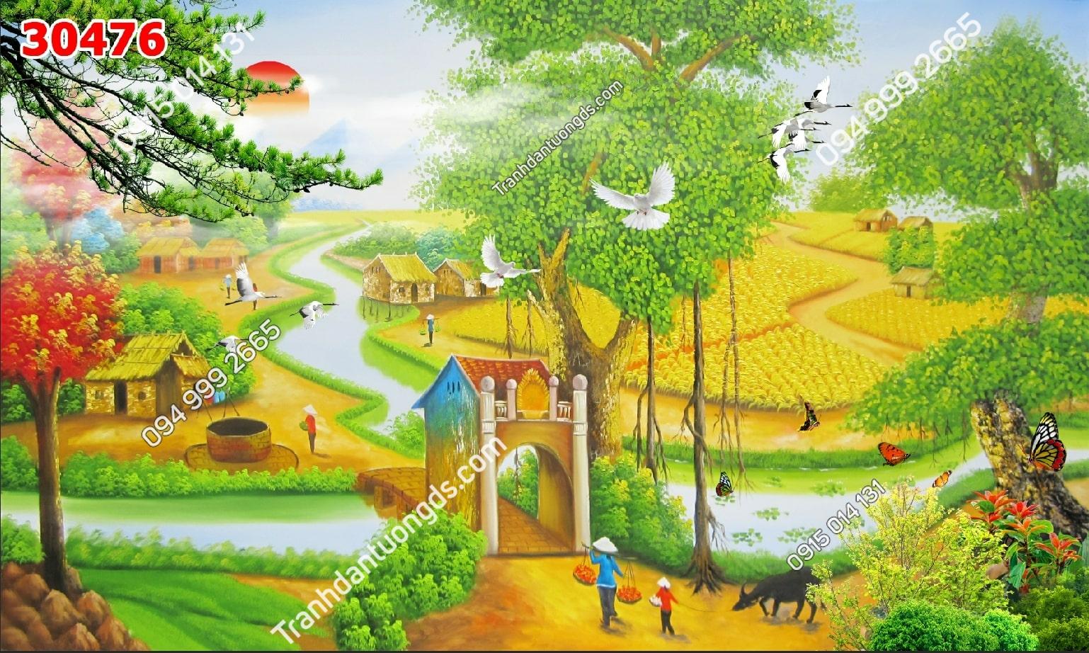 Tranh dán tường đồng quê kiểu vẽ 30475