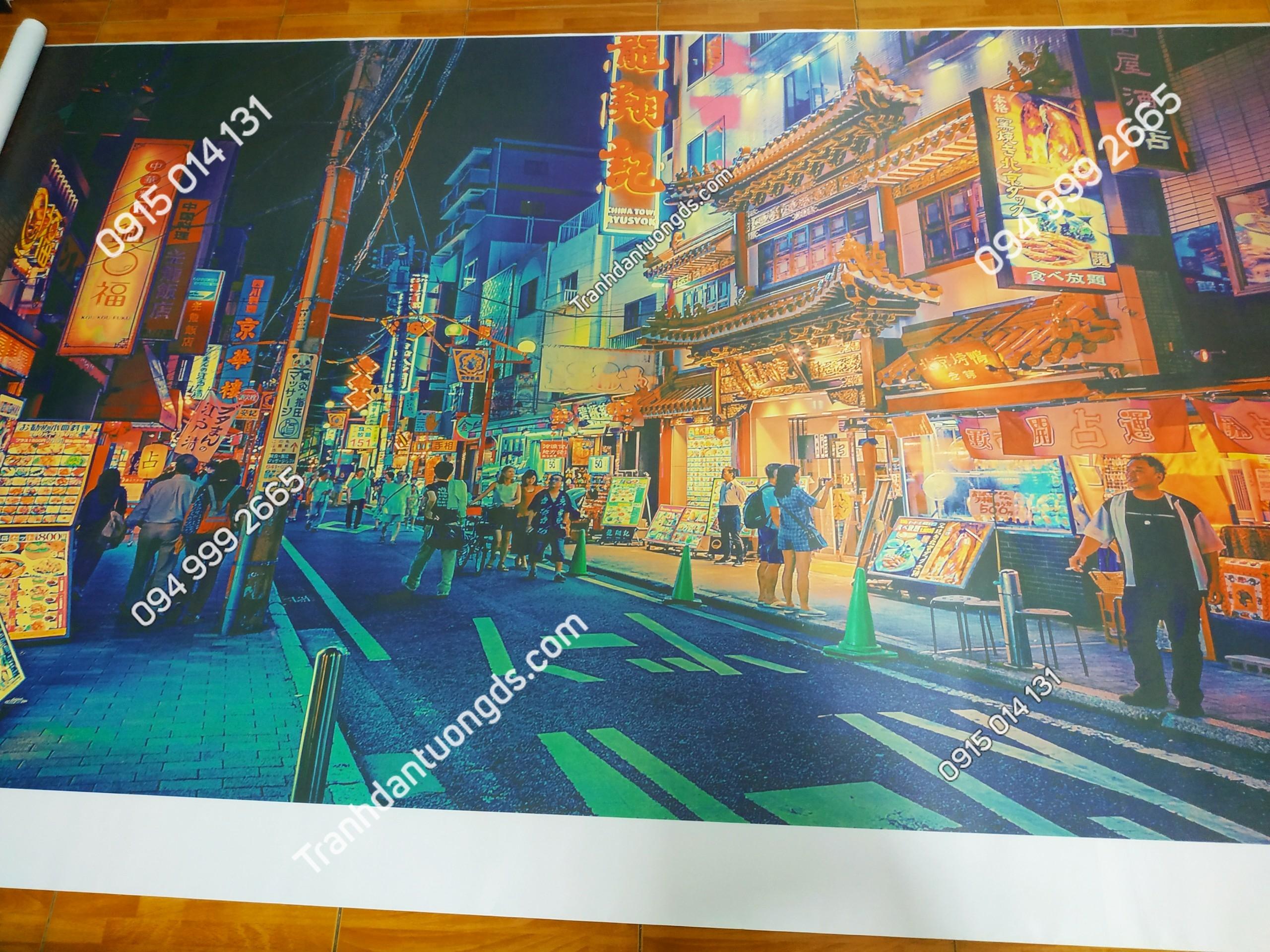 Tranh dán tường đường phố hongkong