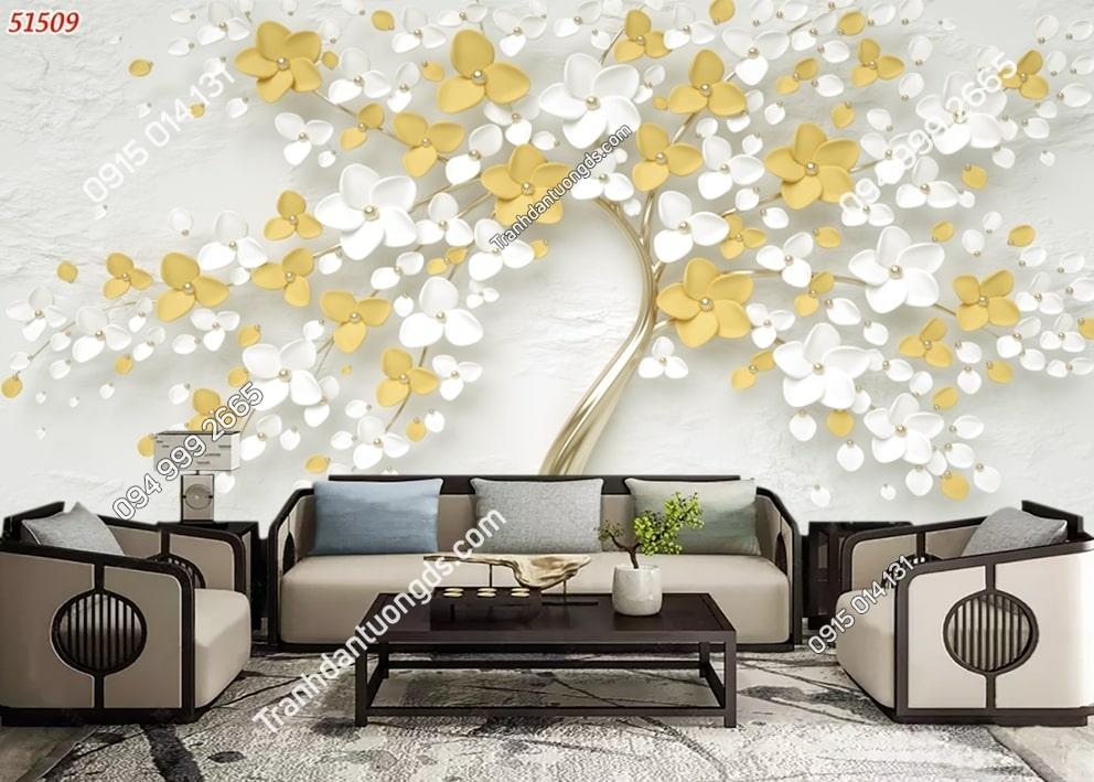 Tranh dán tường gốc hoa vàng trắng 51509