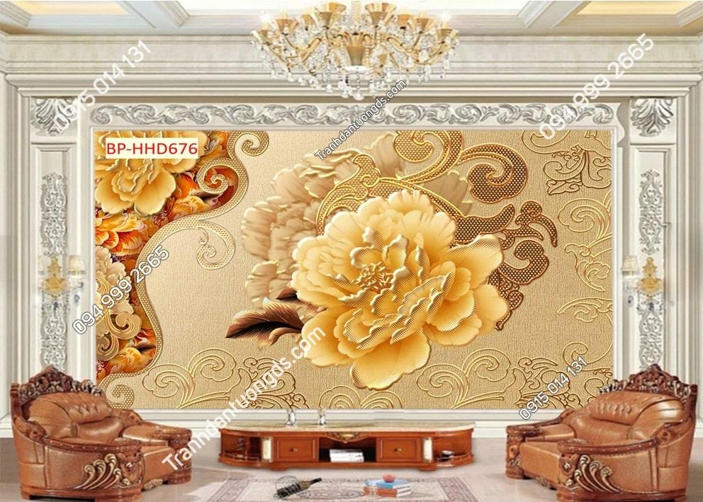 Tranh dán tường hoa 3D dập nổi vàng HHD676