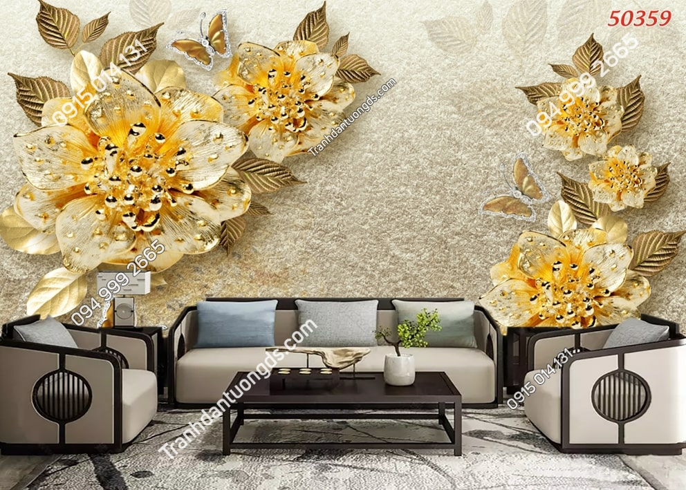 Tranh dán tường hoa 3D giả vàng 50359
