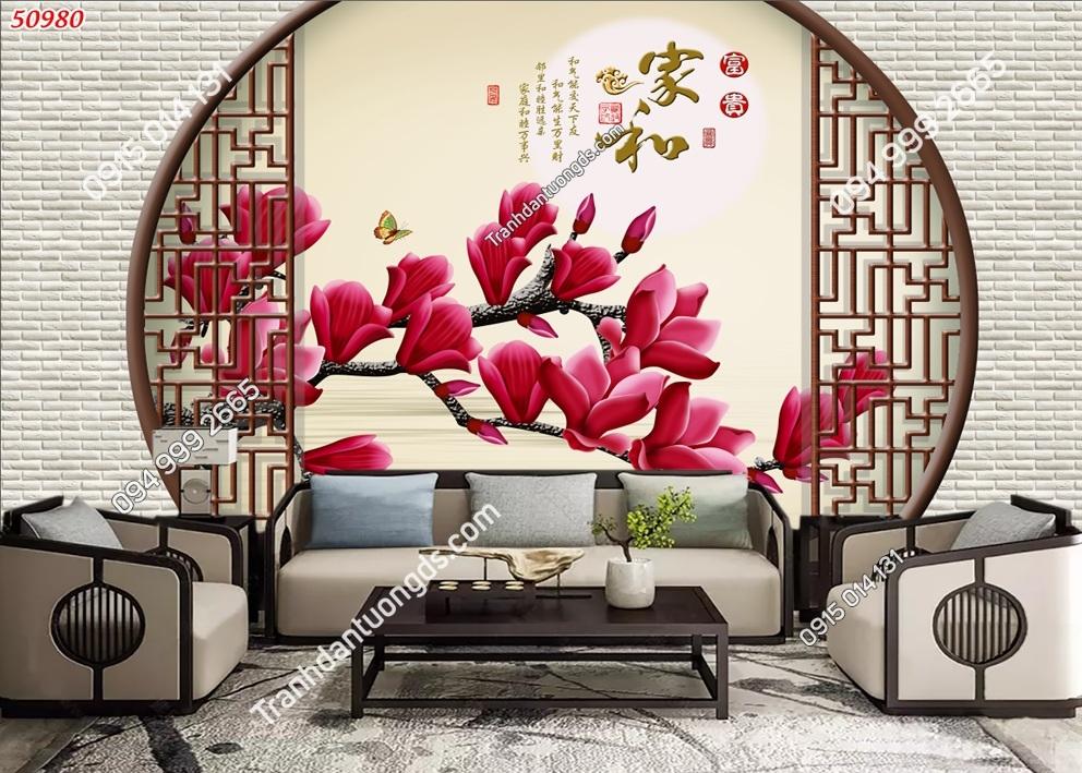 Tranh dán tường hoa 3D màu đỏ 50980